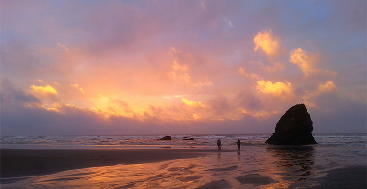 Seaside Beach at sunset, north of Fort Bragg