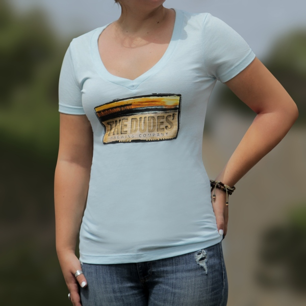 TShirt - Dudes' Logo - Women's VNeck - Dusty Blue