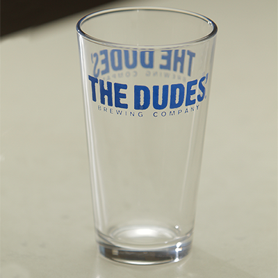 Glassware - 16oz Pint - The Dudes' Logo - Blue_MAIN