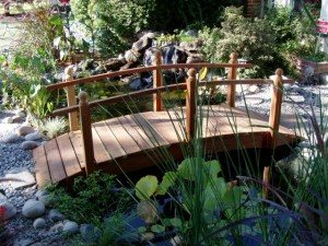 10 ft Span Hand Made Natural 100% Redwood Bridges For Gardens, Paths, & Ponds THUMBNAIL