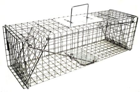 Skunk, Opossum, Prairie Dog - Galvanized Metal Live Animal Trap with 1 x 1 Wire Grid & 2 Trap Doors THUMBNAIL