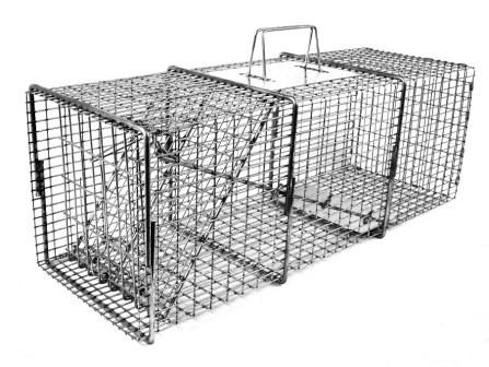"Professional Feral or Domestic Cat / Rabbit Galvanized Metal Live Animal Trap with 1/2"" x 1"" Grid THUMBNAIL"