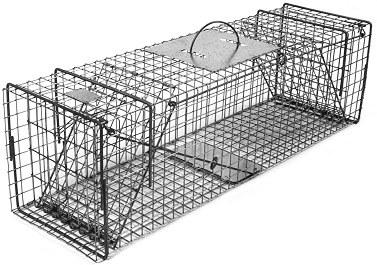 Feral or Domestic Cat / Rabbit Galvanized Metal Live Animal Trap with 1 x 1 Grid & Two Trap Doors_THUMBNAIL