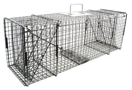 Raccoon/Large Cat/Badger/Rabbit Galvanized Metal Live Animal Trap with 1 x 1 Grid & Two Trap Doors MAIN