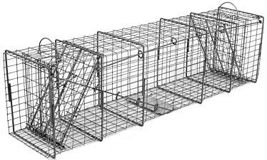 Raccoon/Cat/Rabbit/Lg Ground Hog Galvanized Metal Live Animal Trap with 1 x 2 Grid & Two Trap Doors_THUMBNAIL