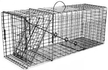 Raccoon / Feral Cat / Badger / Rabbit/ Ground Hog Galvanized Metal Live Animal Trap with 1 x 2 Grid THUMBNAIL