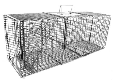 "Professional Raccoon/Cat/Rabbit/Ground Hog Galvanized Metal Live Animal Trap with 1/2"" x 1/2"" Grid THUMBNAIL"