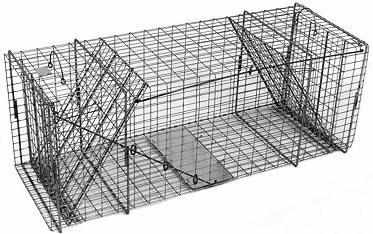 Bobcat / Coyote/ Small Dog / Fox Galvanized Metal Live Animal Trap with 1 x 2 Grid & Two Trap Doors THUMBNAIL