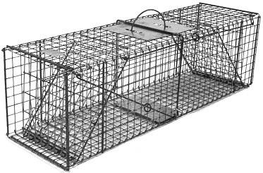 Feral or Domestic Cat/Rabbit Galvanized Metal Collapsible Double Door Live Animal Trap with 1x1 Grid THUMBNAIL