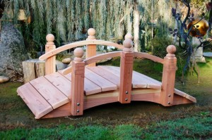 Short Post Bridges - Hand Made Natural 100% Redwood Bridges For Gardens, Paths, & Ponds MAIN