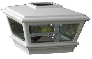 "White Solar LED Post Light Cap 4.5"" x 4.5"" for Bridges, Fences, Decks, & Posts"