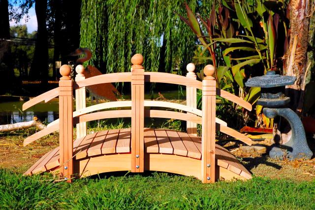 4'-14' Double Curved Rail - Handmade Natural 100% Redwood Bridges For Gardens, Paths, & Ponds_THUMBNAIL