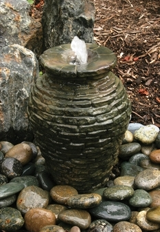 Mini Stacked Slate Urn Fountain - Aquascape Fiberglass Stone Composite