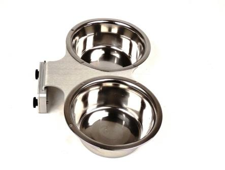 1 Pint Stainless Steel Double Dish Cup with Cage Bar Mount THUMBNAIL