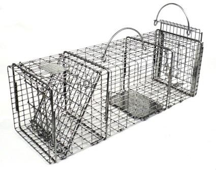 "Professional Squirrel / Muskrat Galvanized Metal Live Transfer Animal Trap with 1/2"" x 1"" Wire Grid THUMBNAIL"