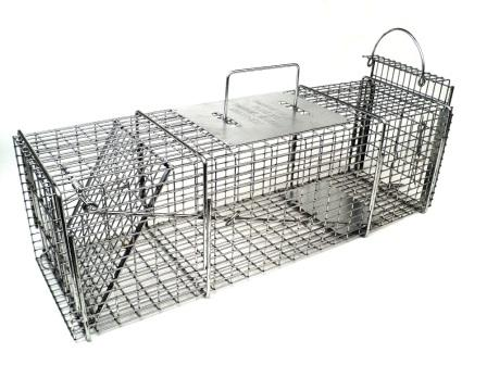 "Professional Skunk / Opossum - Galvanized Metal Live Transfer Animal Trap with 1/2"" x 1"" Wire Grid THUMBNAIL"