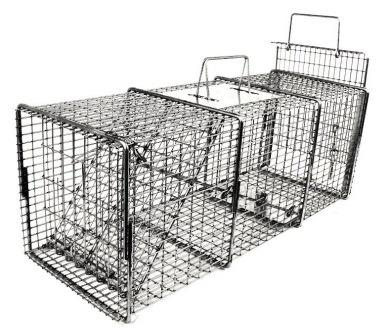 "Professional Cat / Rabbit / Raccoon Galvanized Metal Live Transfer Animal Trap with 1/2"" x 1"" Grid"