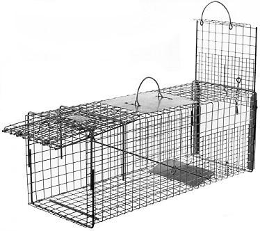 Feral or Domestic Cat / Rabbit / Raccoon Galvanized Metal Live Transfer Animal Trap with 1 x 1 Grid_THUMBNAIL