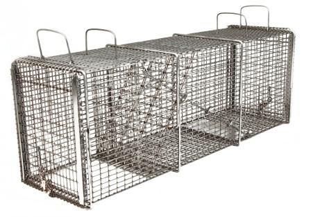 "Professional Raccoon/Rabbit/Feral Cat Galvanized Metal Live Transfer Animal Trap w/ 1/2"" x 1"" Grid_THUMBNAIL"