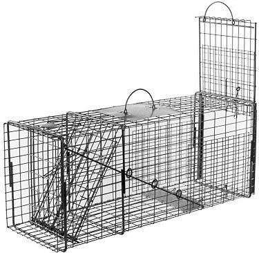 Raccoon / Rabbit/ Feral Cat Galvanized Metal Live Transfer Trap with 1 x 2 Grid_THUMBNAIL