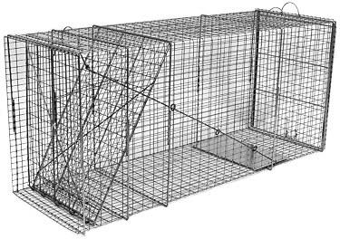 Large Feral Dog Galvanized Metal Live Animal Trap with 1 x 2 Grid THUMBNAIL