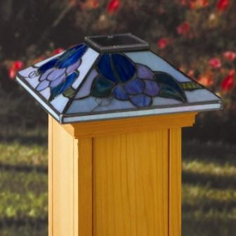 "Solar LED Tiffany-Style ""California Grape"" Light 4"" x 4"" Post Caps for Bridges, Fences, Decks,"