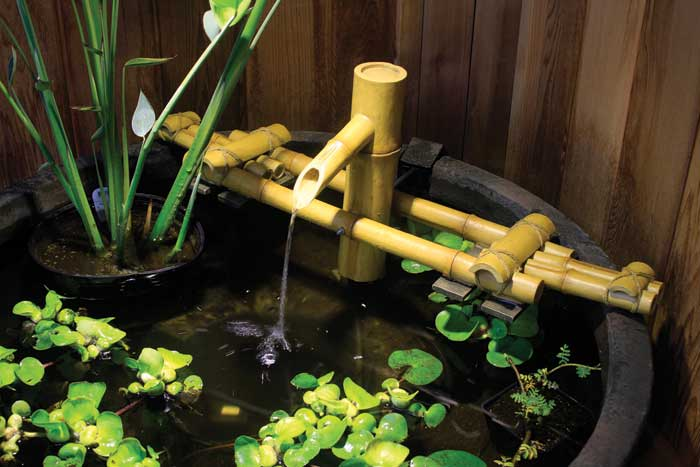 Adjustable Pouring Bamboo Fountain w/pump for Water Gardens & Ponds