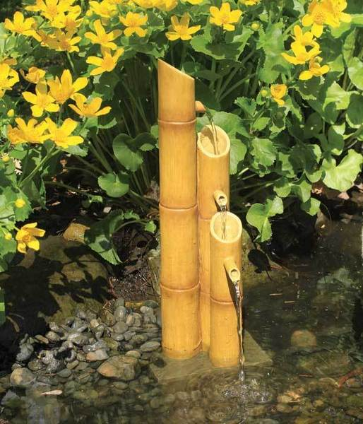 Pouring Three-Tier Bamboo Fountain w/pump for Water Gardens & Ponds