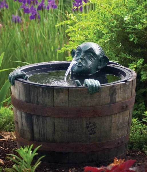 Man in Barrel - Poly Resin Spitter w/pump for Water Gardens & Ponds THUMBNAIL