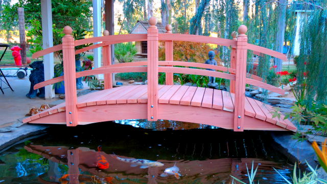 4'-14' Single Curved Rail - Handmade Natural 100% Redwood Bridges For Gardens, Paths, & Ponds MAIN