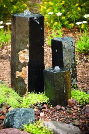 Aquascape - 3 Semi-Polished Pre-Drilled  Basalt Stone Columns for Custom Water Features LARGE