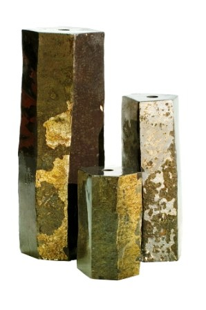 Aquascape - 3 Semi-Polished Pre-Drilled  Basalt Stone Columns for Custom Water Features THUMBNAIL