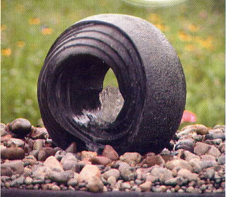 "Aquascape - Carved Black Granite Hollow Swirly Ball (14""L x 14"" W x 14"" H) for Custom Water Features"