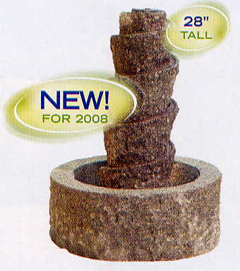 Aquascape - Carved Natural Stone Spiral Self Contained Fountain Water Feature THUMBNAIL