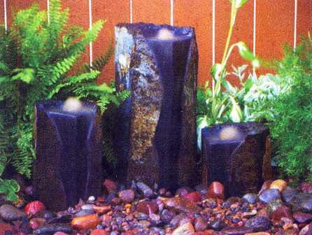 Aquascape   3 Double Textured Mongolian Basalt Cored Columns For Custom Water  Features