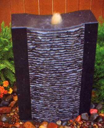 Aquascape - Grooved Natural Black Stone Water Fountain for Custom Water Features