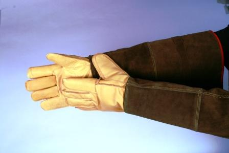 Tough Elk Hide Animal Handling Gloves with 23 Inch Kevlar Lined Gauntlet LARGE