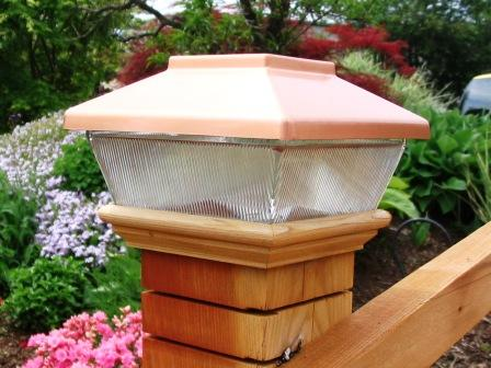 "Copper Top Solar LED Light 4"" x 4"" Post Caps for Bridges, Fences, Decks, & Posts LARGE"