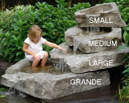 "Small - Stackable Waterfall Rock Basin with Spillway by Createk Stone (33"" W x 19"" D  x 10"" H)"