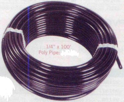 "1/4 x 100 ft  Poly Pipe for 1/2"" Hudson Automatic Water Fill Valve for Water Garden & Pond Skimmers"