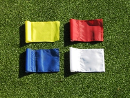 "Solid Colored Jr. (8"" L x 5 ¾"" H ) Marker Flags For Golf & Putting Green Applications"