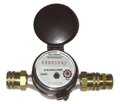 "Professional Nickel Plated Bronze - Water Garden & Pond Water Meter - 3/4"" Swivel Brass Connections MAIN"