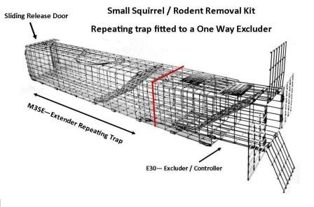 "Professional - Small Sized Squirrel / Rodent Removal Kit (24"" x 3.5"" x 3.5"") LARGE"