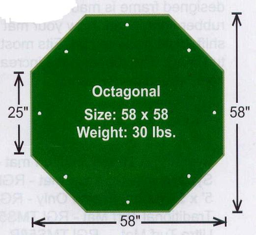 "Golf Driving Range / Chipping Mats - AstroTurf 58"" Octagonal Turf Mat with 5/8"" Pile Height LARGE"
