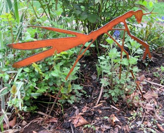 Praying Mantis Garden Stake - Hand Crafted Metal Garden Art Decor THUMBNAIL