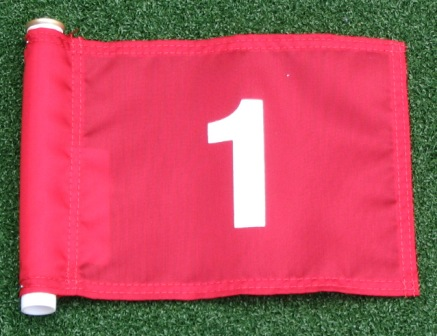 "White Numbered - Red Jr. (8"" L x 6"" H ) Marker Flags For Golf & Putting Green Applications"