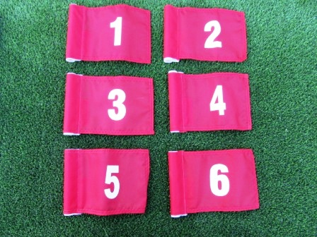 "White Numbered - Red Jr. (8"" L x 6"" H ) Marker Flags For Golf & Putting Green Applications THUMBNAIL"
