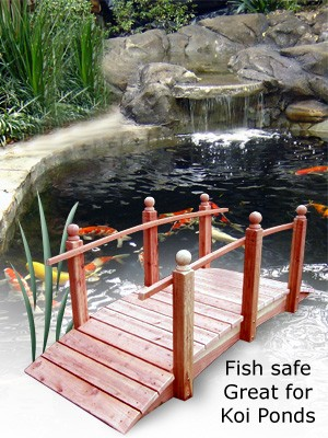 Water garden pond products redwood bridges hand made for Wooden koi pond construction