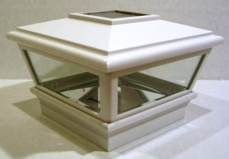 "White Solar LED Post Light Cap 4.5"" x 4.5"" for Bridges, Fences, Decks, & Posts LARGE"