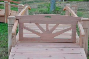 Short Post Bridge Gate - Hand Made Natural 100% Redwood Bridges For Gardens, Paths, & Ponds MAIN